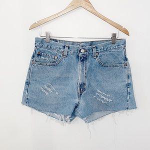 VINTAGE LEVI'S 550 Cutoff Denim Shorts High Waist